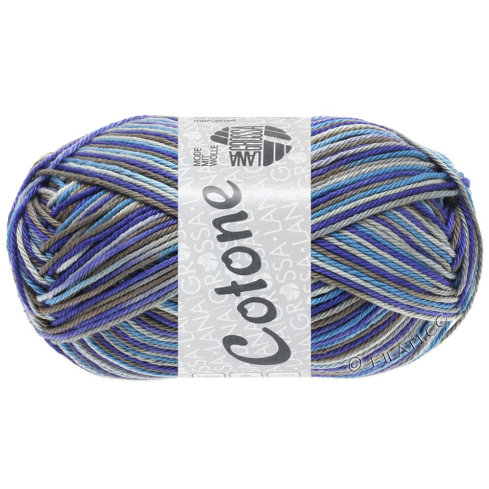 Lana Grossa COTONE  Print/Denim | 326-светло-серый/тёмно-серый/сине-фиолетовый/светло синий