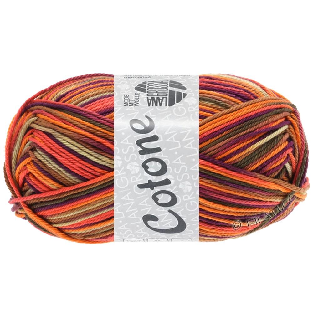 Lana Grossa COTONE  Print/Denim | 334-оранжевый/бежевый/терракотовый/тёмно-фиолетовый/коричневый/тёмно-коричневый