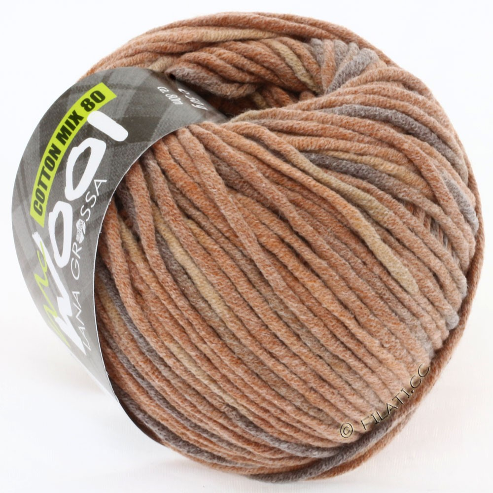 Lana Grossa COTTON MIX 80 Print (McWool) | 755-цвет корицы/коричневый/тёмно-коричневый