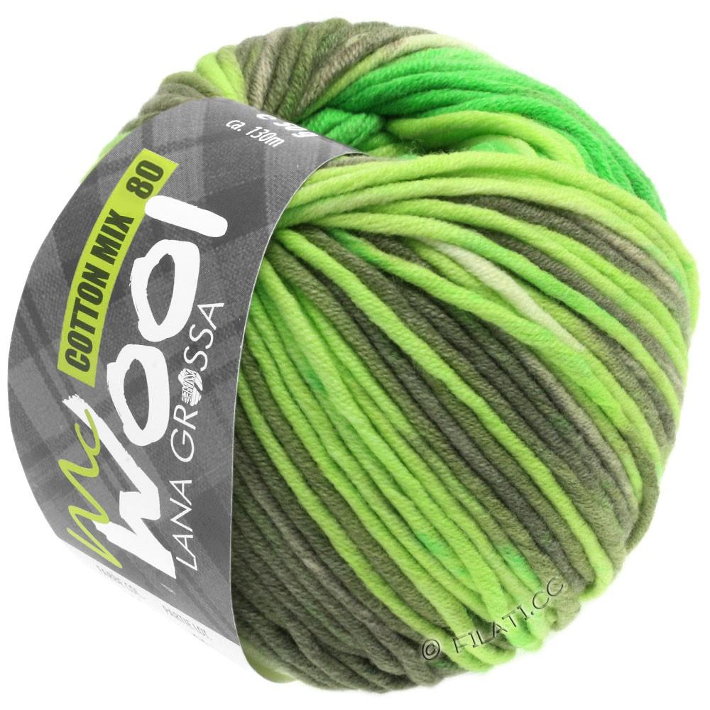 Lana Grossa COTTON MIX 80 Print (McWool) | 906-светящийся-зеленый/светло-зелёный/мягко-зеленый/хаки
