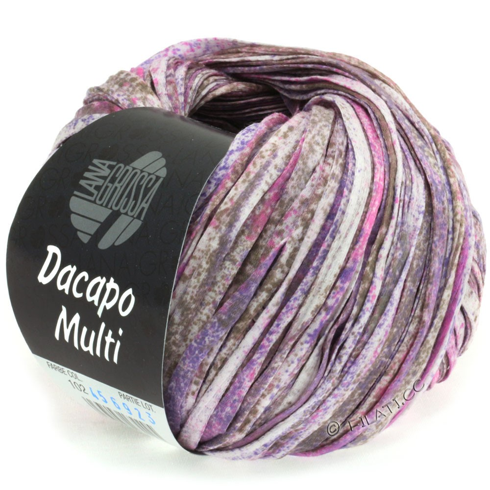 Lana Grossa DACAPO Multi | 102-пурпурный/пинк/серо-коричневый/натуральный