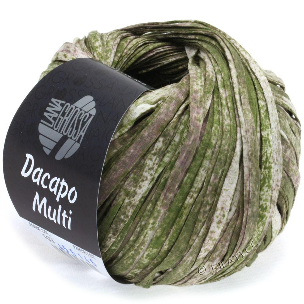 Lana Grossa DACAPO Multi | 103-тёмно-оливковый/ветхо-розовый/натуральный