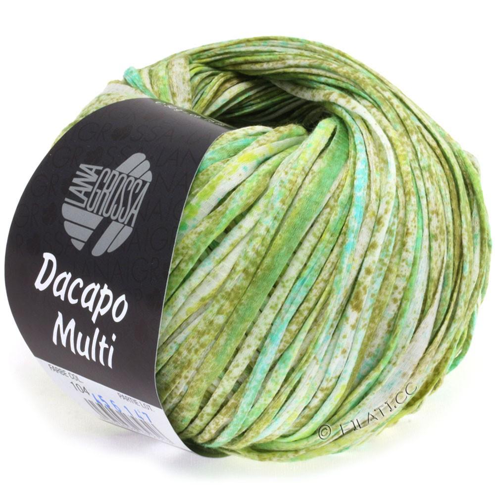 Lana Grossa DACAPO Multi | 104-оливковый/светло-зелёный/бирюзовый/натуральный