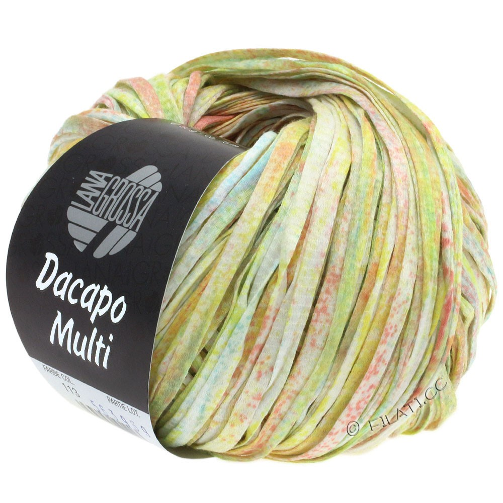 Lana Grossa DACAPO Multi | 113-розовый/светло-желтый/светло-зелёный/бирюзовый/белый