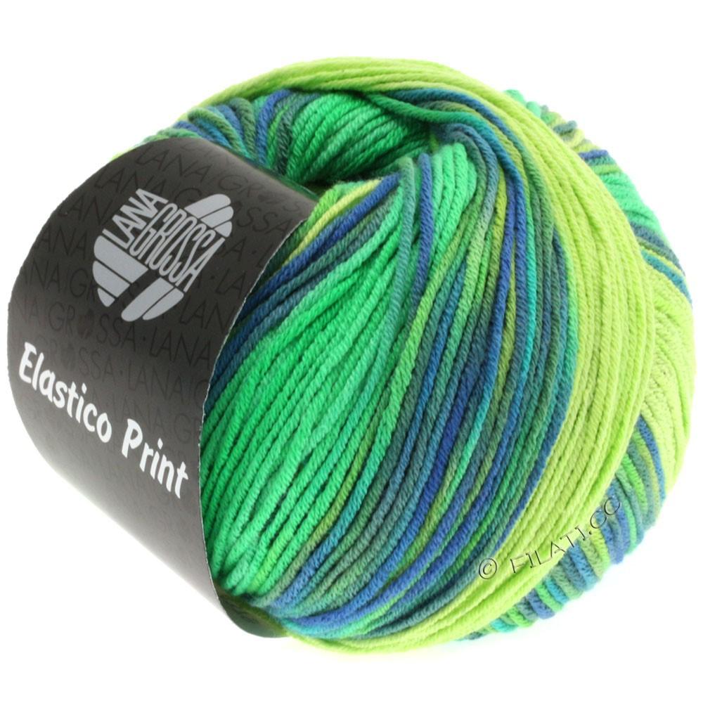 Lana Grossa ELASTICO  Uni/Print уни/принт | 501-светло-зелёный/светящийся-зеленый/королевский/серо-зеленый