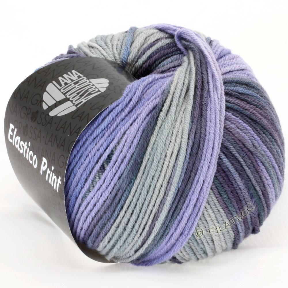 Lana Grossa ELASTICO  Uni/Print уни/принт | 504-фиолетовый/серый фиалка/синий дым/светло-серый