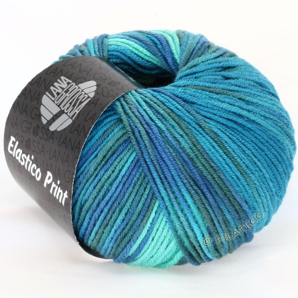 Lana Grossa ELASTICO  Uni/Print уни/принт | 506-зелено-бирюзовый/сине-бирюзовый /петроль/серо-синий