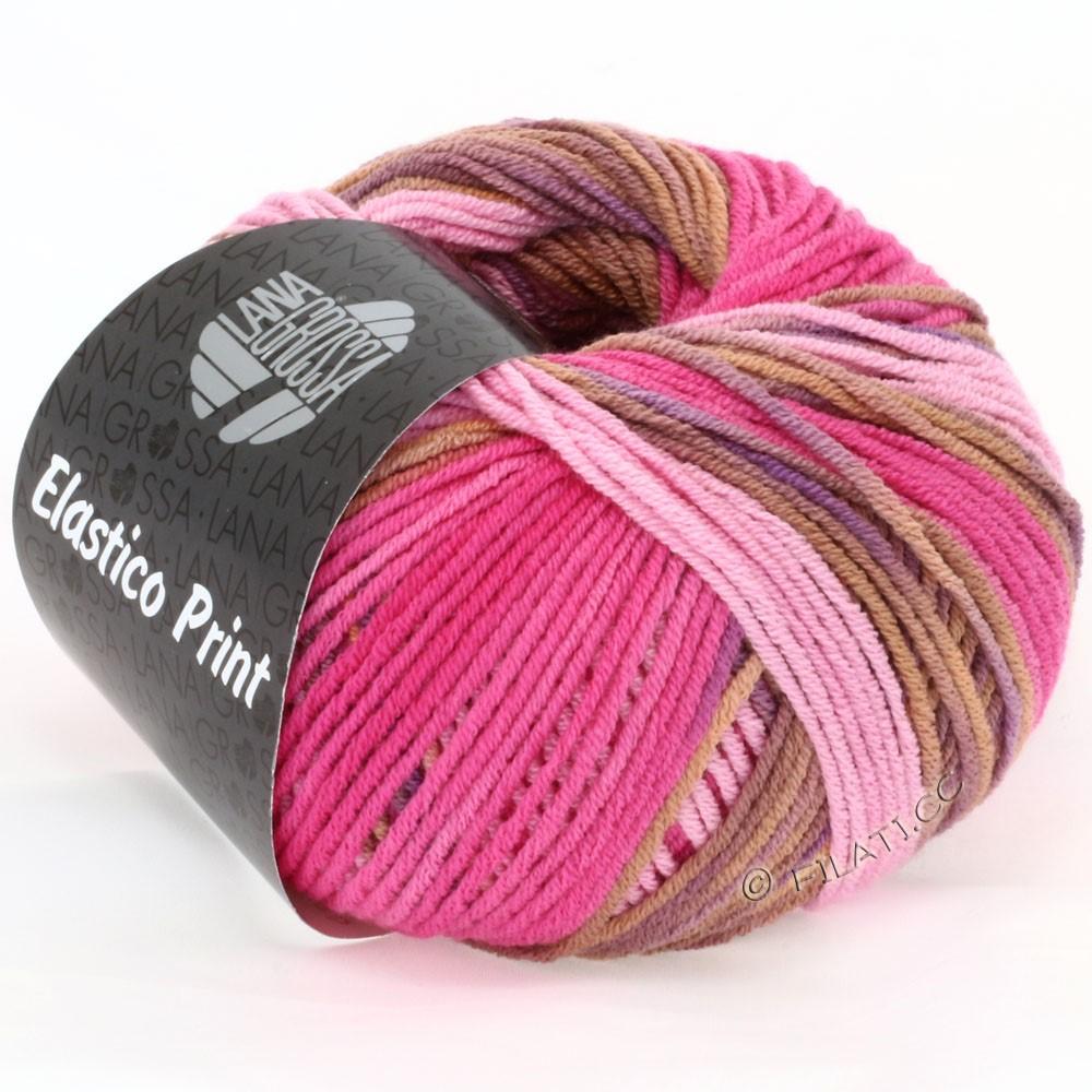 Lana Grossa ELASTICO  Uni/Print уни/принт | 507-розовый/пинк/коньяка/фиолетовый