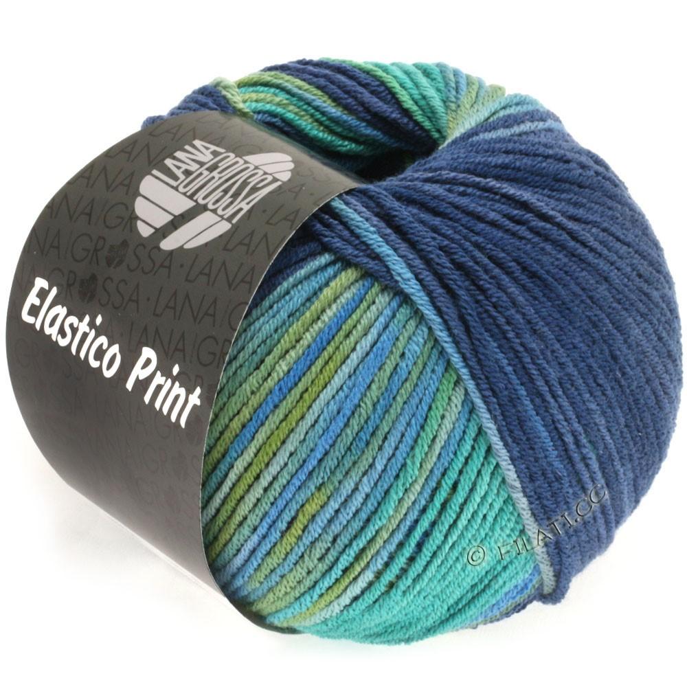 Lana Grossa ELASTICO  Uni/Print уни/принт | 514-зеленый опал /петроль зелёный/тёмно-синий/тёмно-синий /оливковый