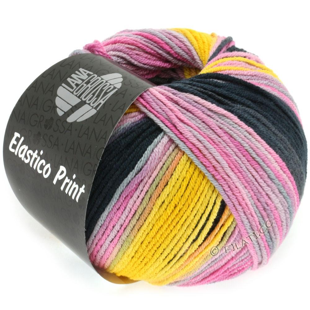 Lana Grossa ELASTICO  Uni/Print уни/принт | 516-розовый/пинк/жёлтый/сирень/антрацитовый