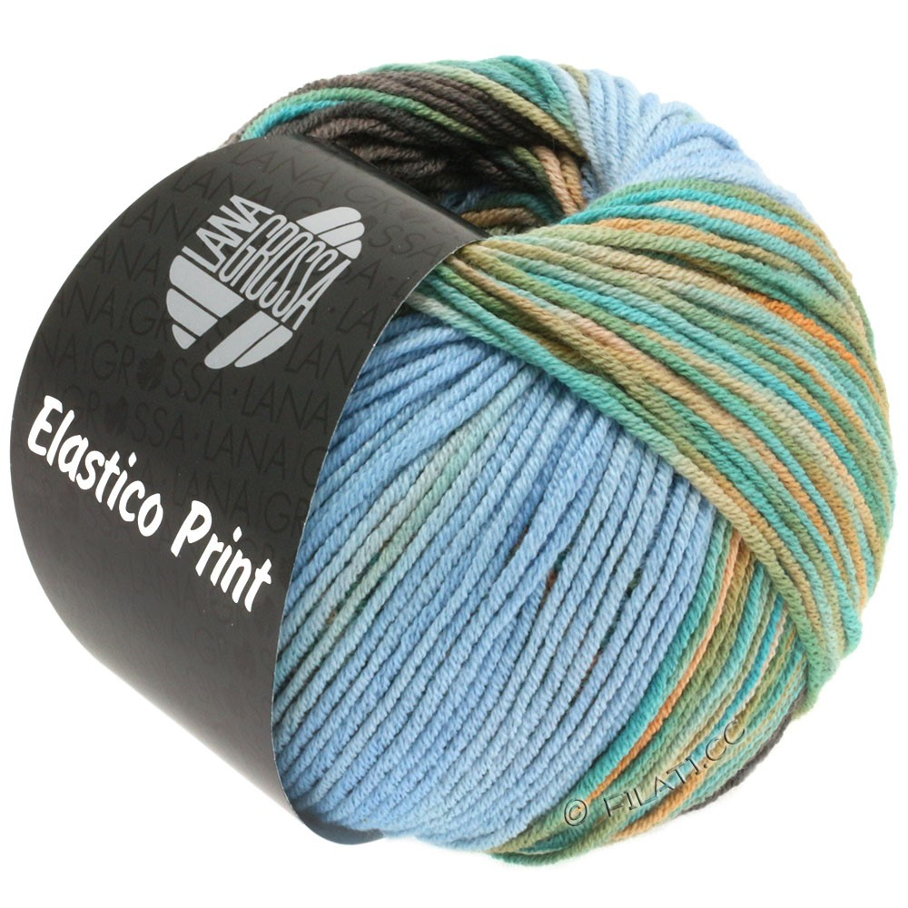 Lana Grossa ELASTICO  Uni/Print уни/принт | 518-светло-голубой/серовато-коричневый/бирюзовый/верблюд/беж