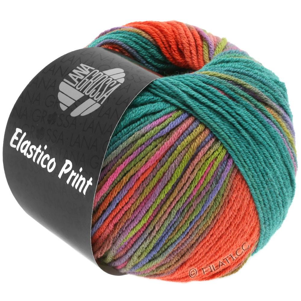 Lana Grossa ELASTICO  Uni/Print уни/принт | 522-тёмно-зелёный/коралловый/сине-фиолетовый/жёлто-зеленый
