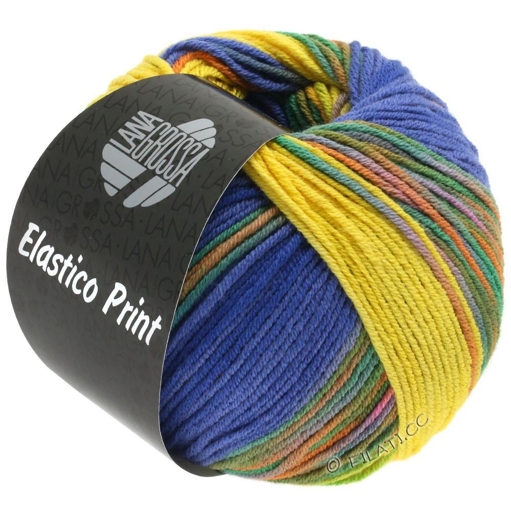 Lana Grossa ELASTICO  Uni/Print уни/принт | 523-желтый/голубой фиолетовый/синий, как ночь/зеленый/оранжевый