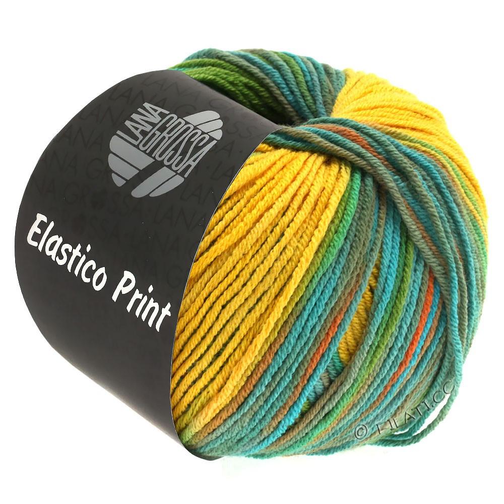 Lana Grossa ELASTICO  Uni/Print уни/принт | 527-желтое солнце/пастельно-зелёный/бирюзовый/цвет корицы