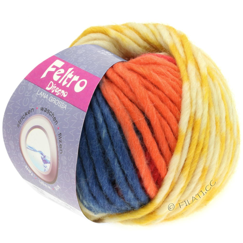 Lana Grossa FELTRO Disegno | 1201-чисто-белый/жёлтый/оранжевый/светло-голубой