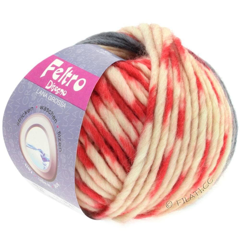 Lana Grossa FELTRO Disegno | 1203-чисто-белый/серый/красный/чёрный/жёлтый