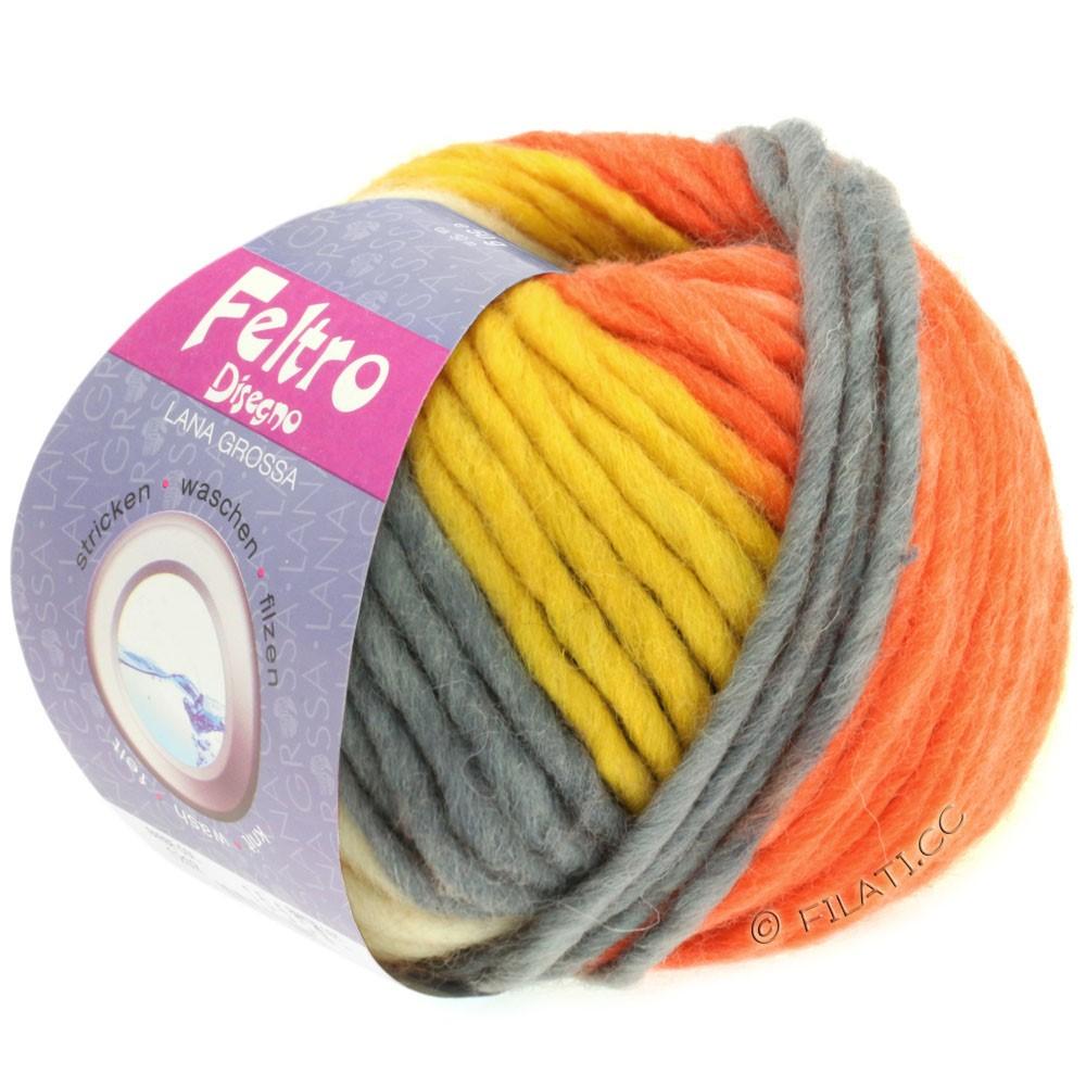 Lana Grossa FELTRO Disegno | 1204-чисто-белый/антрацитовый/жёлтый/терракотовый/оранжевый