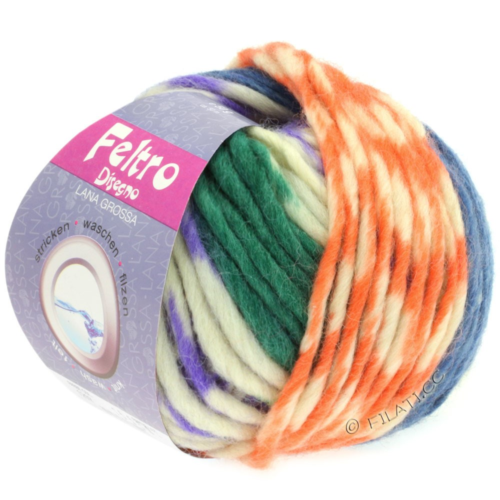 Lana Grossa FELTRO Disegno | 1205-пурпурный/чисто-белый/синий/зелёный/жёлтый/персик