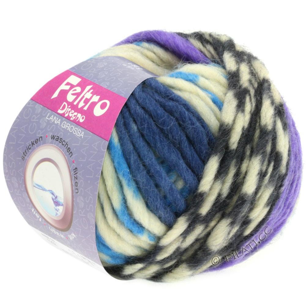 Lana Grossa FELTRO Disegno | 1206-чисто-белый/светло-голубой/фиолетовый/джинс/серый
