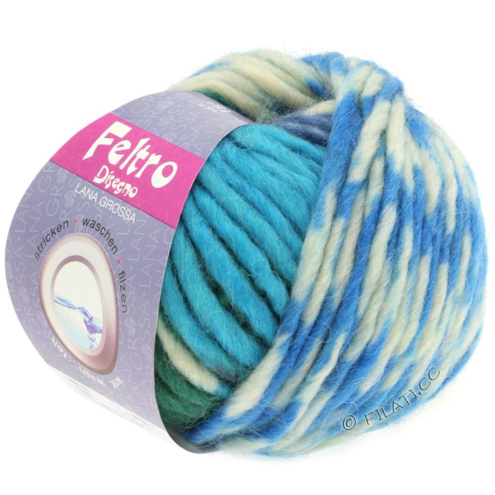 Lana Grossa FELTRO Disegno | 1208-чисто-белый/антрацитовый/синий/тёмно-зелёный/бирюзовый