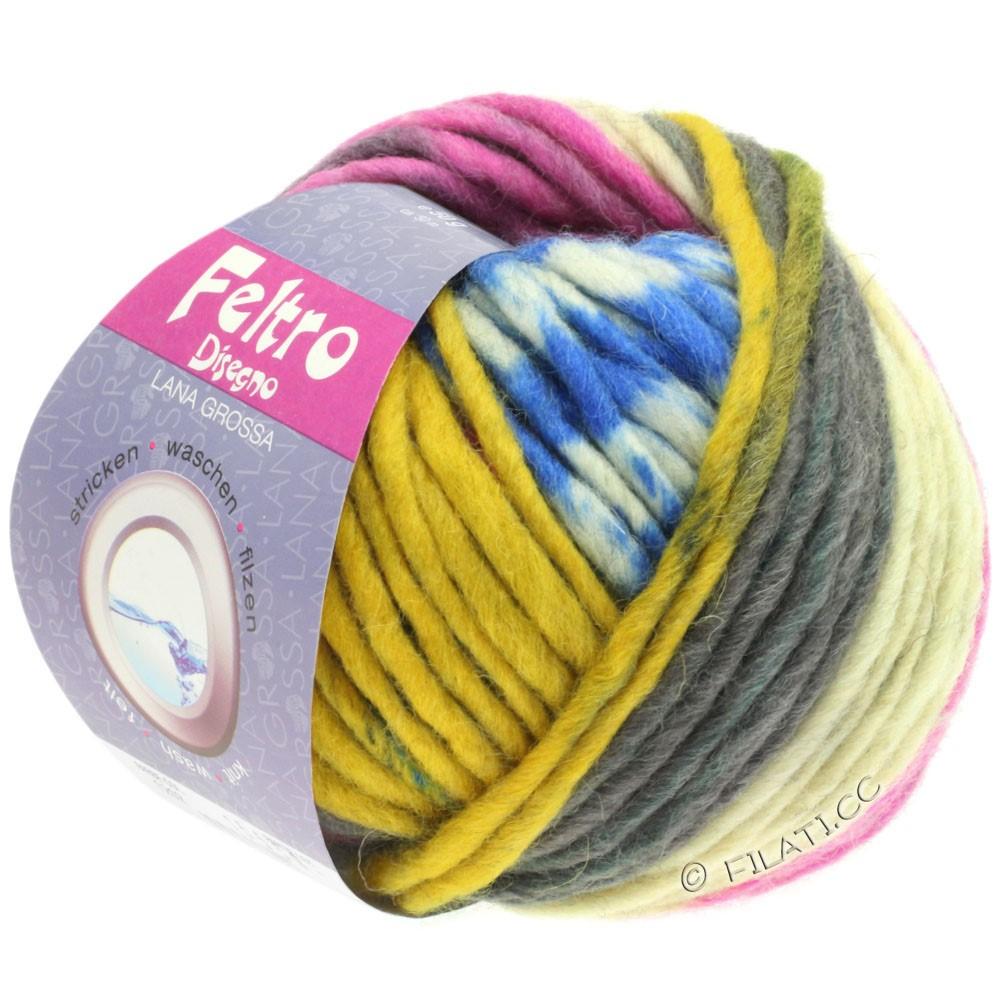 Lana Grossa FELTRO Disegno | 1209-чисто-белый/антрацитовый/жёлтый/пинк/синий