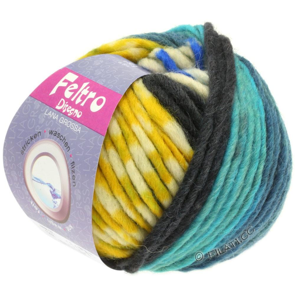 Lana Grossa FELTRO Disegno | 1210-чисто-белый/петроль синий/горчично-желтый/бирюзовый/синий