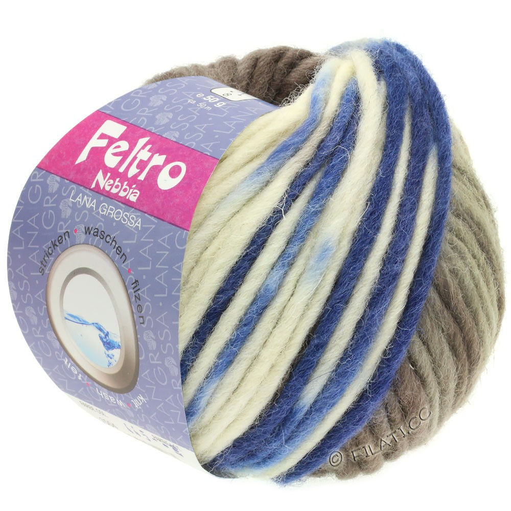 Lana Grossa FELTRO Nebbia   1503-белый/серо-коричневый/синий