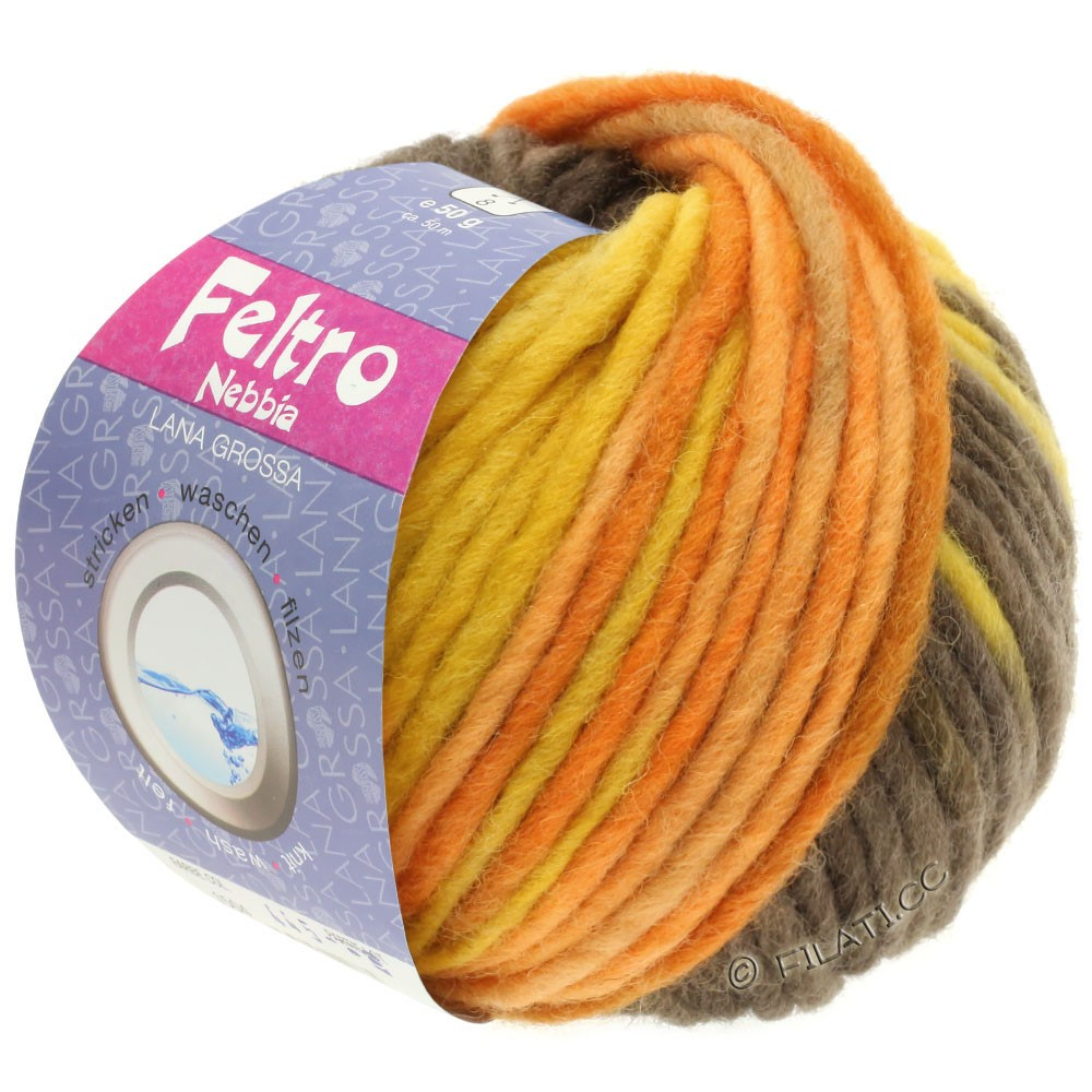 Lana Grossa FELTRO Nebbia   1506-золотисто-жёлтый/оранжевый/тёмно-коричневый