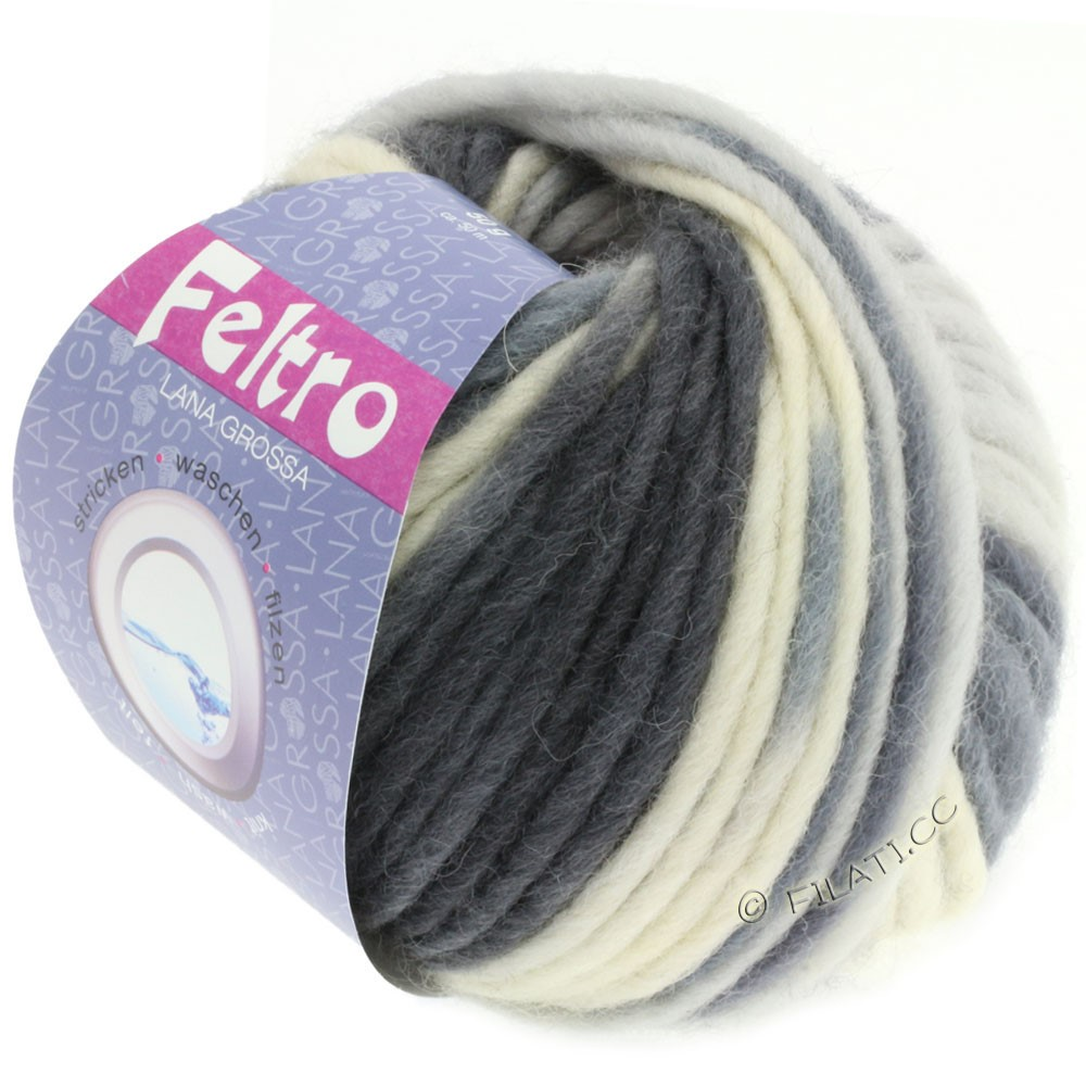 Lana Grossa FELTRO Print принт | 331-чисто-белый/светло-серый/тёмно-серый