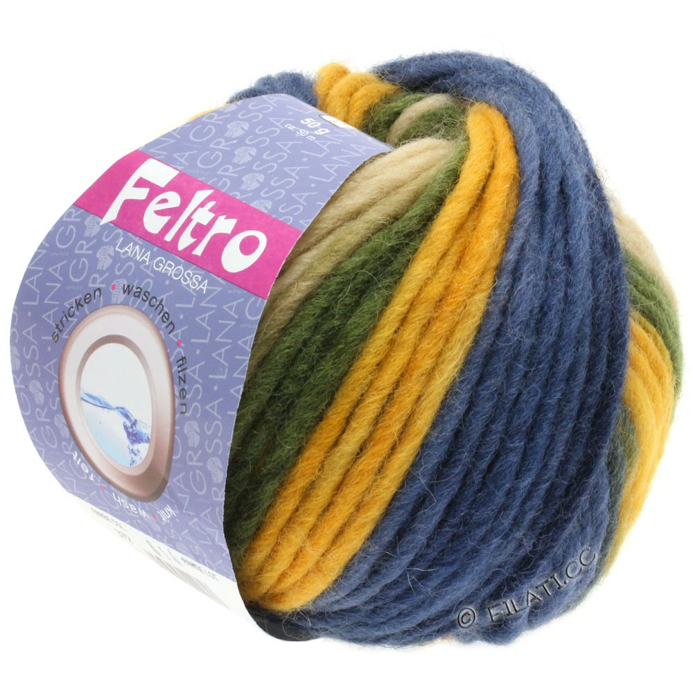Lana Grossa FELTRO Print принт | 372-золотисто-жёлтый/хаки/тёмно-синий