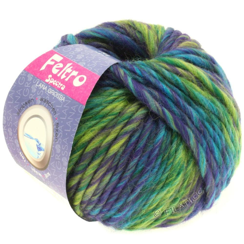 Lana Grossa FELTRO Spectra   802-фиолетовый/жёлто-зеленый/петроль/бирюзовый