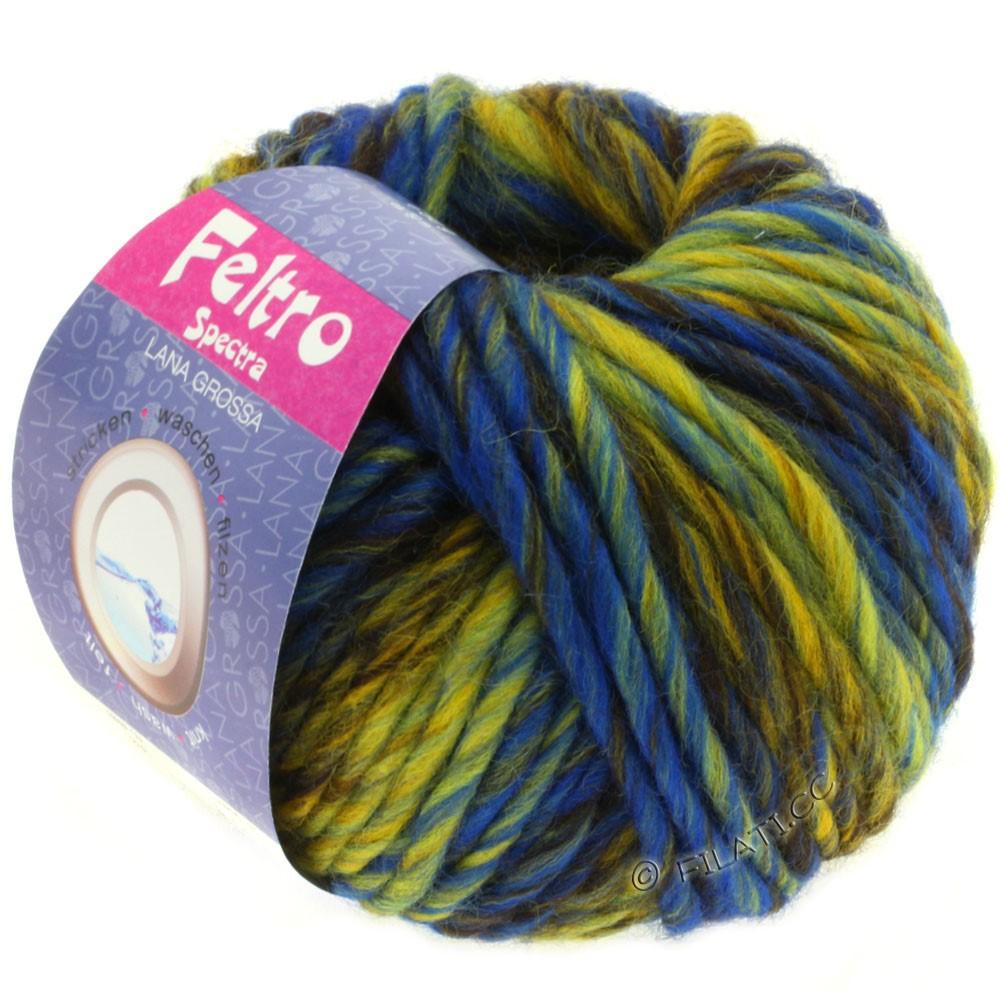 Lana Grossa FELTRO Spectra   808-жёлтый/синий/кофе мокко