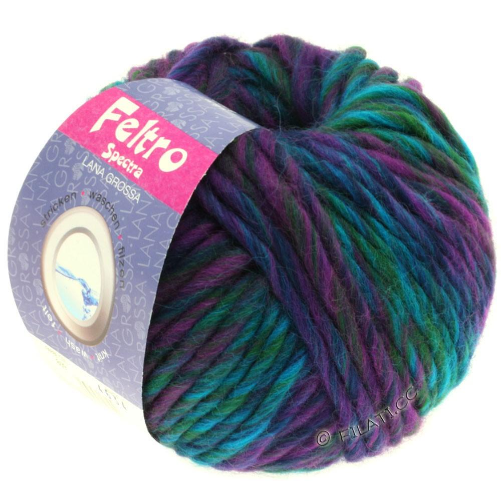 Lana Grossa FELTRO Spectra   809-красная фиалка/синий/бирюзовый/петроль/бутылочный цвет