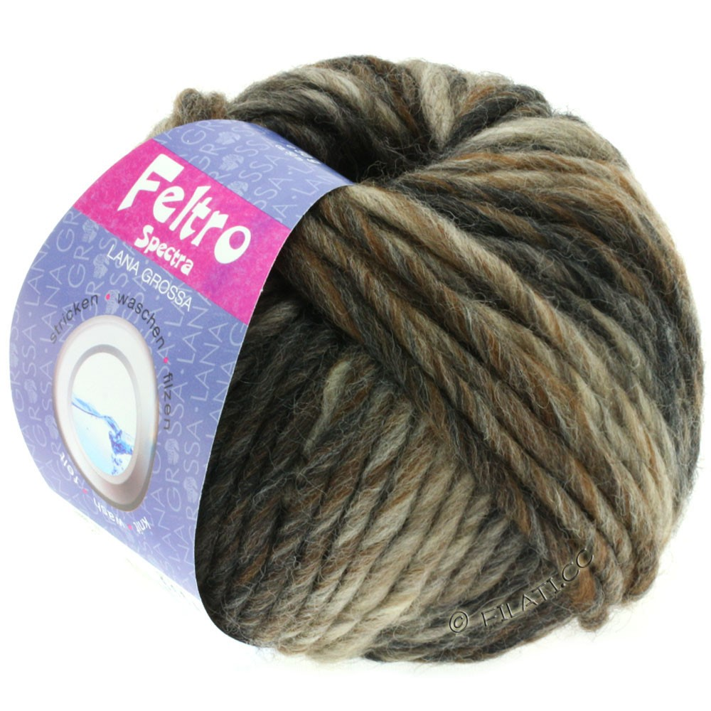 Lana Grossa FELTRO Spectra | 810-серо- бежевый/серо-коричневый/коричневый шоколад/антрацитовый