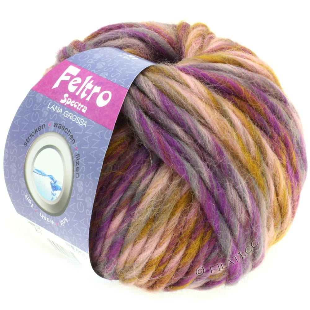 Lana Grossa FELTRO Spectra   811-розовый/горчичный/фиолетовый/серый