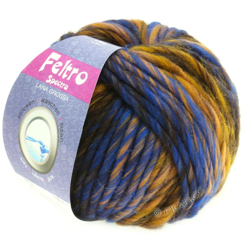 Lana Grossa FELTRO Spectra | 812-охра/синий/золотой/кофе мокко