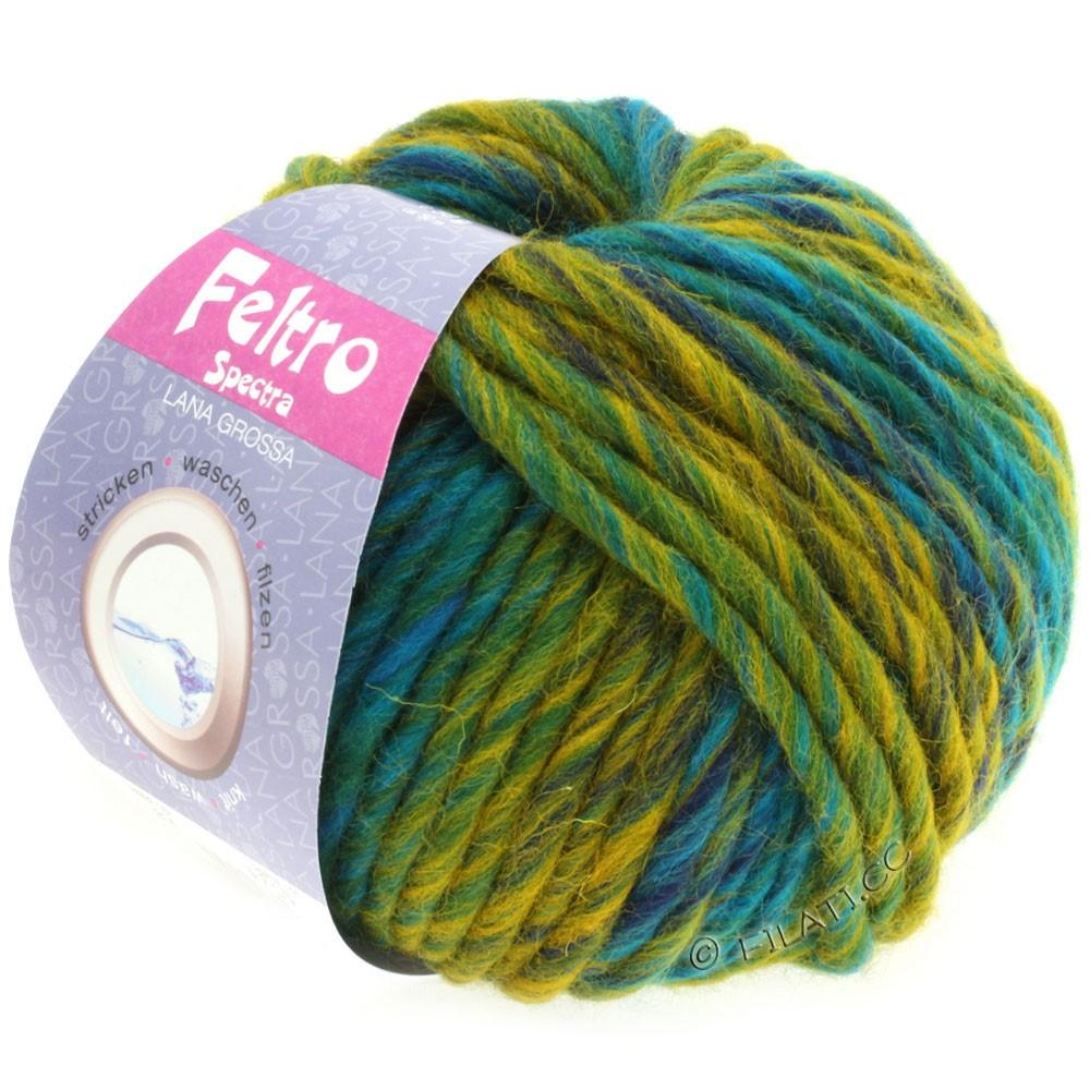 Lana Grossa FELTRO Spectra   814-бирюзовый/петроль/жёлтый/синий