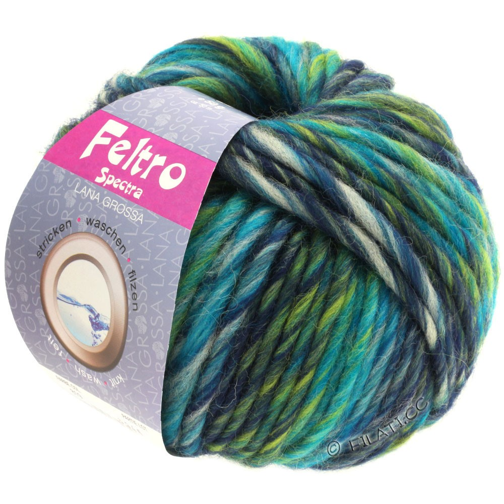 Lana Grossa FELTRO Spectra   819-петроль/светло-серый/синий/жёлто-зеленый