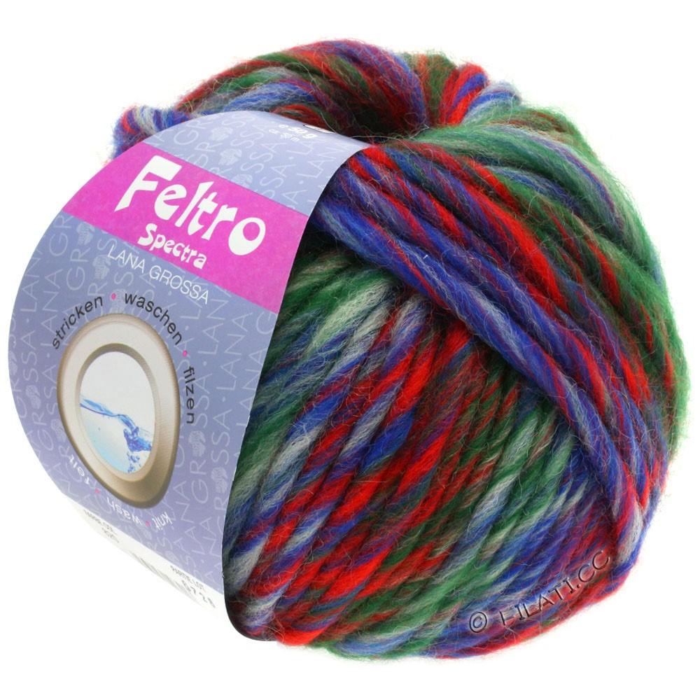 Lana Grossa FELTRO Spectra | 820-синий/чисто-белый/красный/тёмно-зелёный
