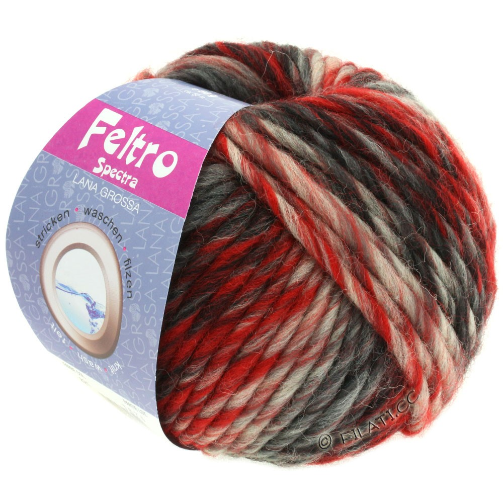 Lana Grossa FELTRO Spectra | 821-красный/чисто-белый/чёрный/антрацитовый