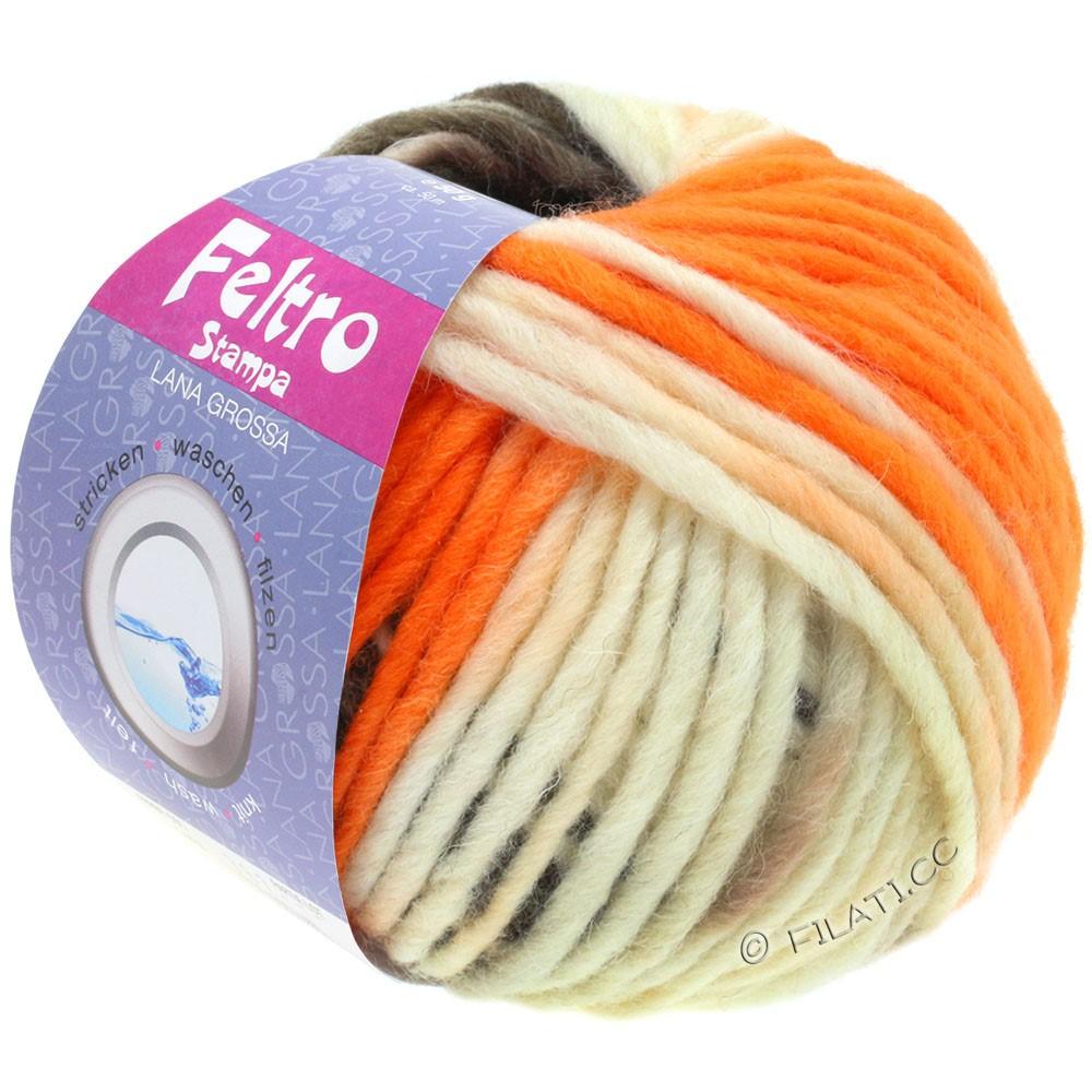 Lana Grossa FELTRO Stampa | 1401-чисто-белый/оранжевый/серо-коричневый/серо-коричневый
