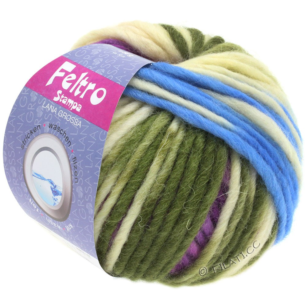 Lana Grossa FELTRO Stampa | 1402-чисто-белый/светло-голубой/фиолетовый/зеленый сено