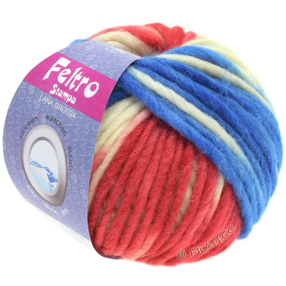 Lana Grossa FELTRO Stampa | 1403-чисто-белый/малиновый/синий/серый