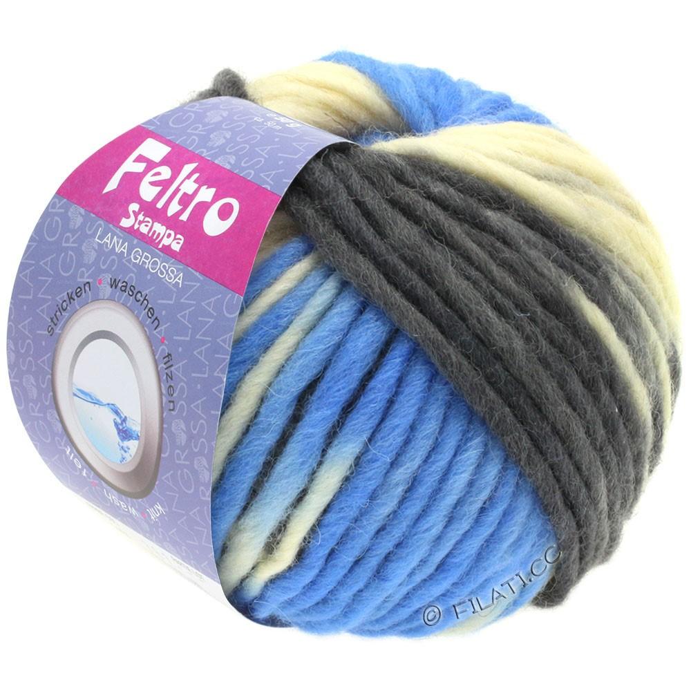 Lana Grossa FELTRO Stampa | 1404-чисто-белый/светло-голубой/антрацитовый/чёрный