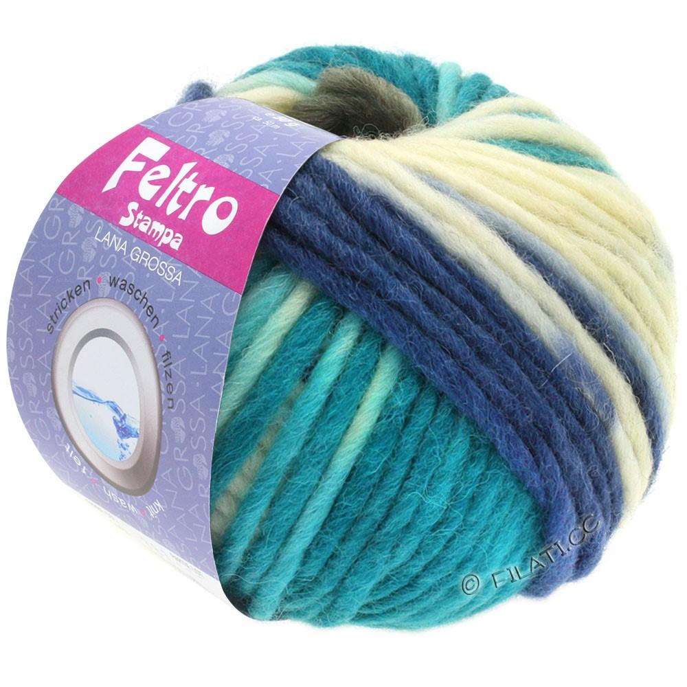 Lana Grossa FELTRO Stampa | 1405-чисто-белый/тёмно-серый/синий/нефритово-зеленый