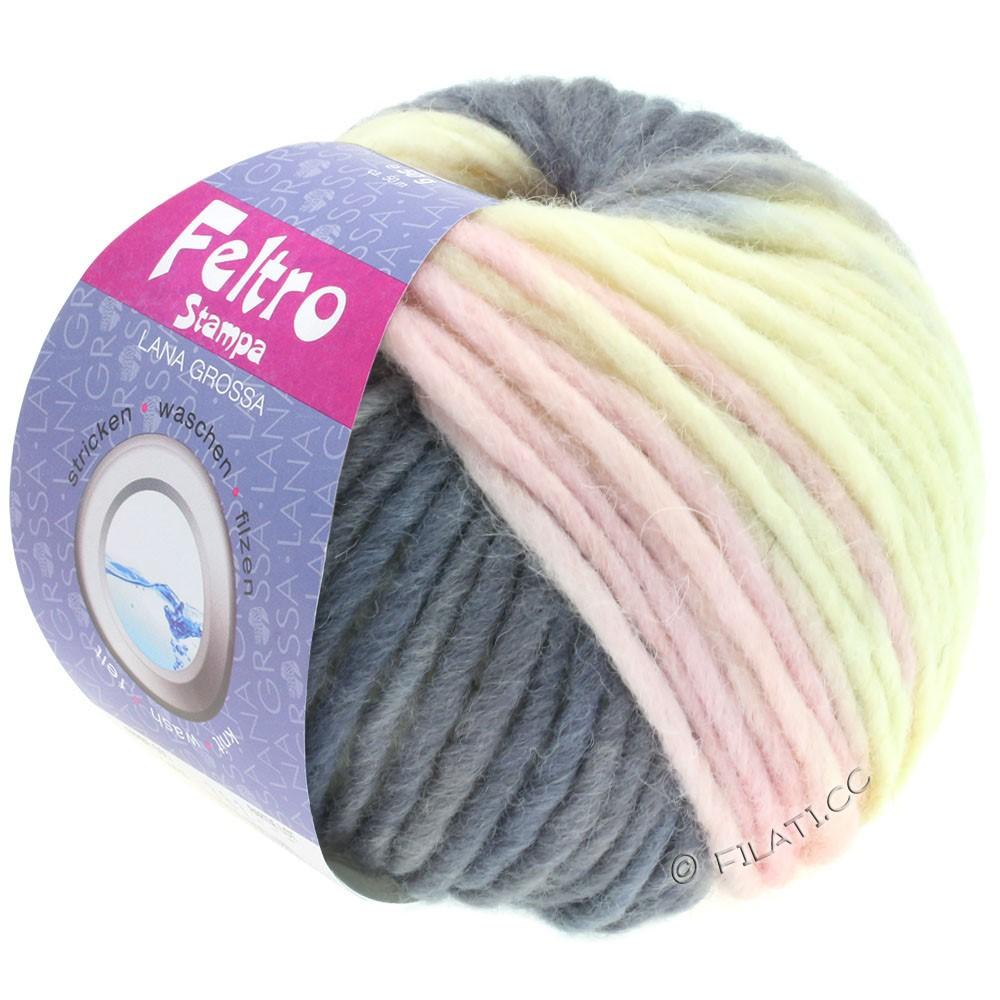Lana Grossa FELTRO Stampa | 1409-чисто-белый/серо-фиолетовый/Мягко лиловый/тёмно-серый