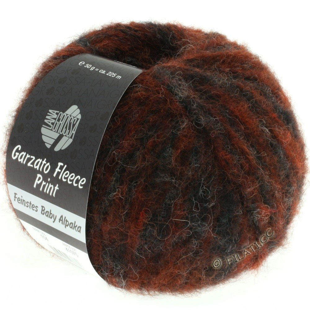Lana Grossa GARZATO Fleece Uni/Print/Degradé | 104-цвет ржавчины/натуральный/чёрный