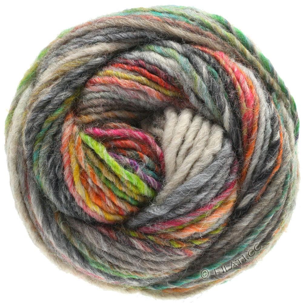 Lana Grossa GOMITOLO 100 | 103-серо-зеленый/светло-серый/зеленовато-желтый/изумрудный/оранжевый/антрацитовый