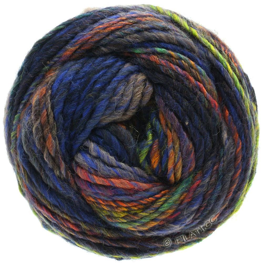 Lana Grossa GOMITOLO 100 | 107-синий/тёмно-синий /медь/жёлтый/зелёный