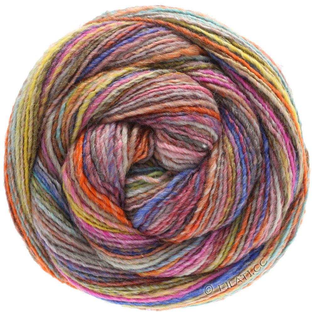 Lana Grossa GOMITOLO 200 | 203-лососевый/горчичный/бирюзовый/сине-фиолетовый